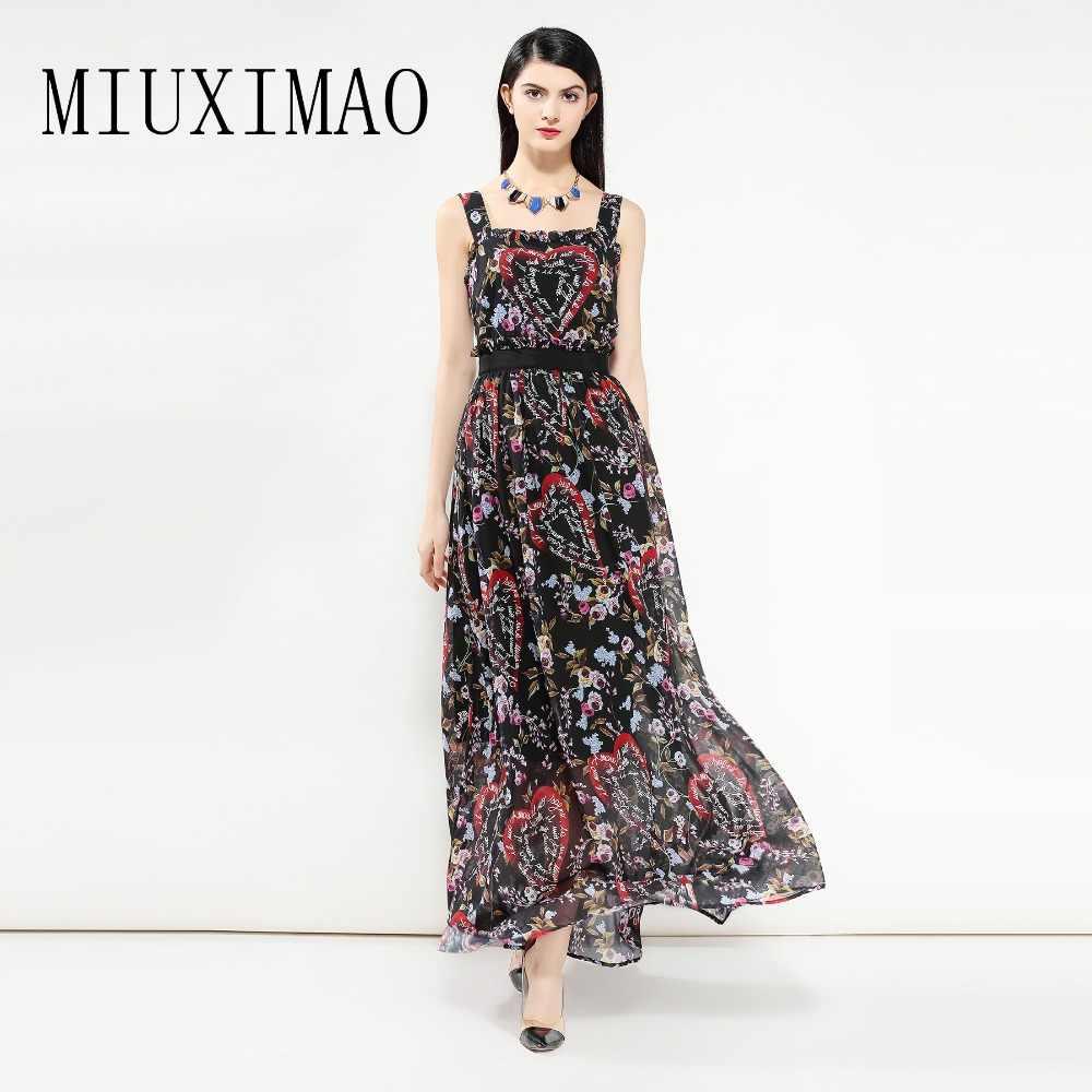 Европа Мода 2018 весна новейший квадратный воротник без рукавов Макси платье с цветочным принтом в виде сердца винтажное Черное длинное платье для женщин