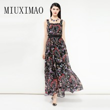 Europe Fashion 2018 Spring Newest Square Collar Sleeveless Maxi Dress Heart Print Flower Floral Vintage Black Long Dress Women sleeveless flower print vintage dress