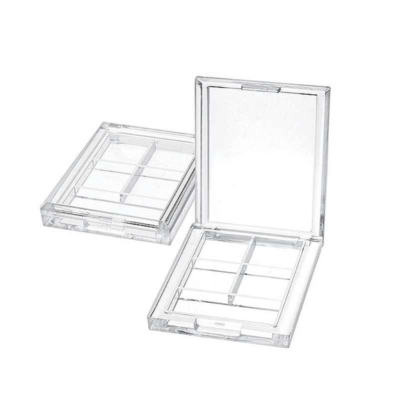 4 Grids Persegi Panjang Eyeshadow Pigmen Kosong Wadah Palet Plastik Portable Lipstik Dispenser Case Tray Alat Makeup