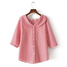 2019 Summer Women Fashion Peter Pan Collar Plus Size Shirts Three Quarter Casual 3/4-Length Sleeve Loose Plaid Blouses