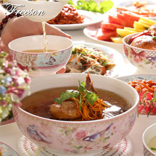 Europe Pastorale Bone China Rice Bowl Soup Noodle Bowl Lunch Box Porcelain Salad Tableware Food Container