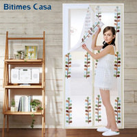 Summer Anti Mosquito Tape Installation Door Curtain Screen Leaves Pattern High Density Mesh Long Magnets With