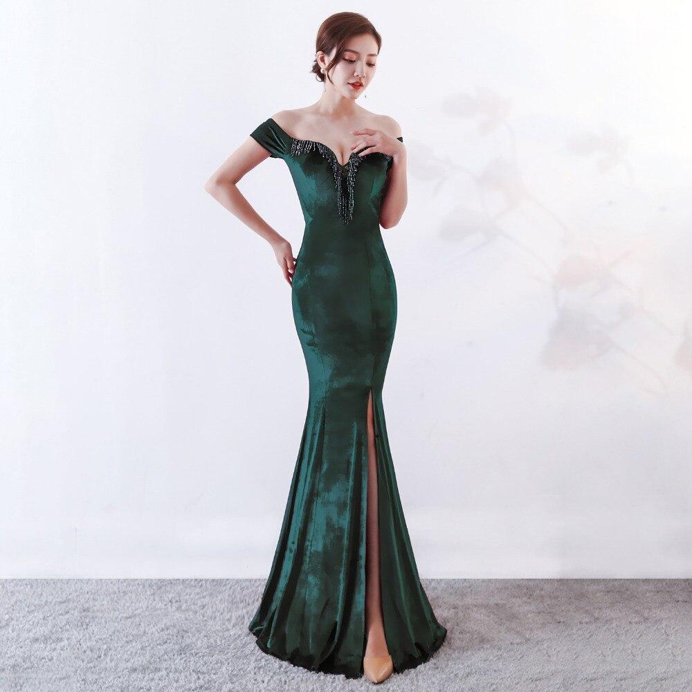 Women Elegant Sexy Appliques Velvet Wine Red Off Shoulder V-Neck Long Mermaid Slim Slit Club Party Dress Vestidos (13)