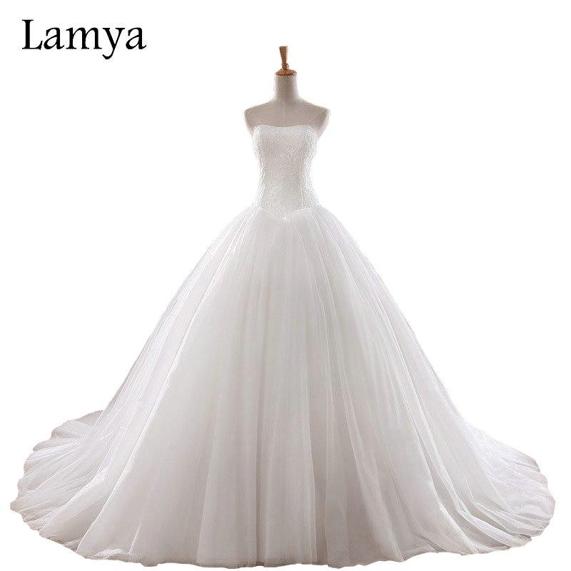 LAMYA 0.8M Curtea de Crăciun Nunta rochie 2018 Celebrity ieftine Celebrity Strapless Vintage Tulle Bridal Ball Rochie Organza Lace rochii de mireasa