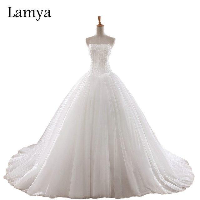 LAMYA 0.8M Court Train Wedding Dress 2018 Cheap Celebrity Strapless ...