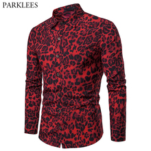 Men's Sexy Red Leopard Print Shirt 2019 Fashion Nightclub Party Prom Men
