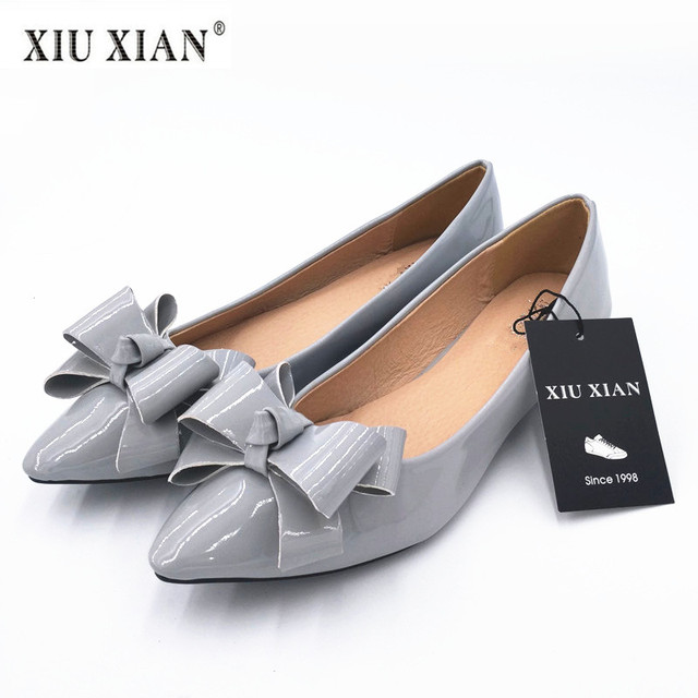Plus Size Women Flexible Pointed Flats Bow Shoes Slip On New Fashion Casual High  Quality PU
