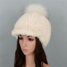 Настоящее норковый вязаный Женская шляпа теплый Модная норка натуральным лисьим Мех животных мяч и роскошные повседневное кепки#96