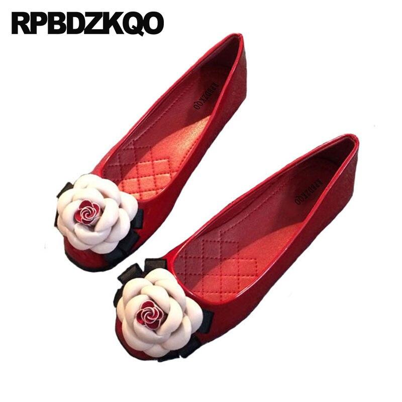 Couro de Patente Rasos para Mulheres com Gatinho Bailarina Vermelho Dedo Quadrado Balé Floral Sapatos Fofo Flor Preto Aplicação Tamanho Grande Mais Recente Outono Primavera Transporte Gota Europeu Belo Moda