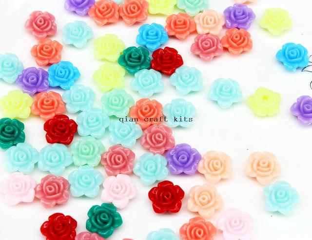 700pcs Rose Flower Acrylic Beads 13mm Assorted Pastel Color Mix Plastic  Kawaii earring studs Girl flatback c701517d57e0