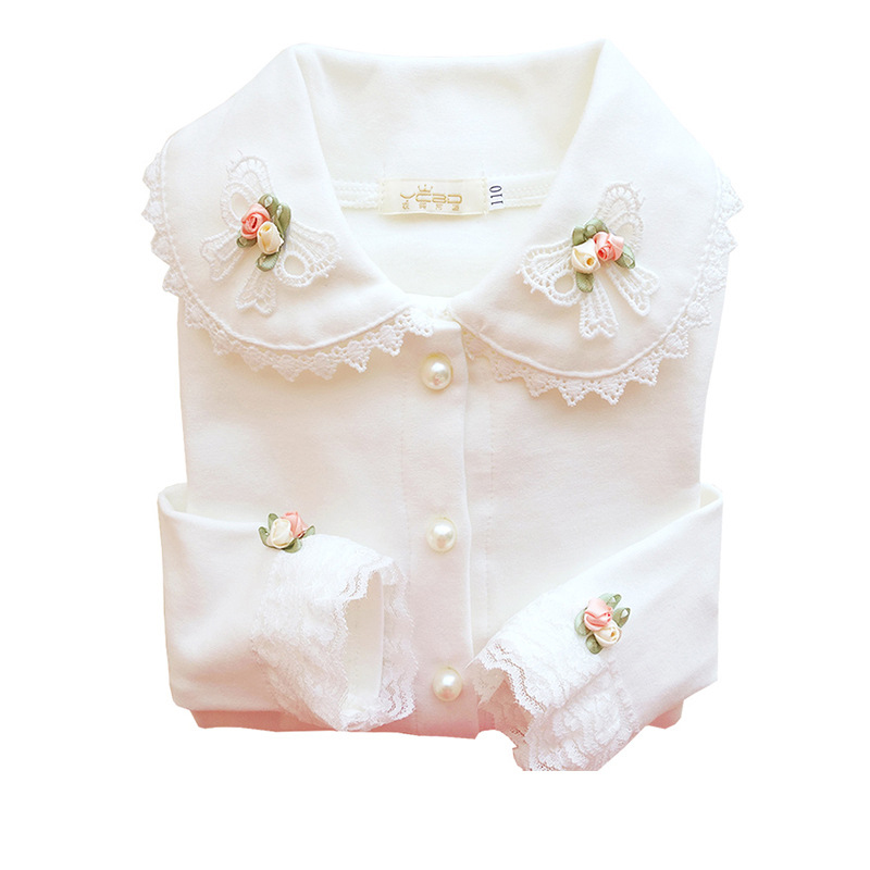 2019 Girls School Blouses Thermal Underwear For Children Autumn\spring Long Sleeve Cotton Lace Princess Clothing 4y-10y