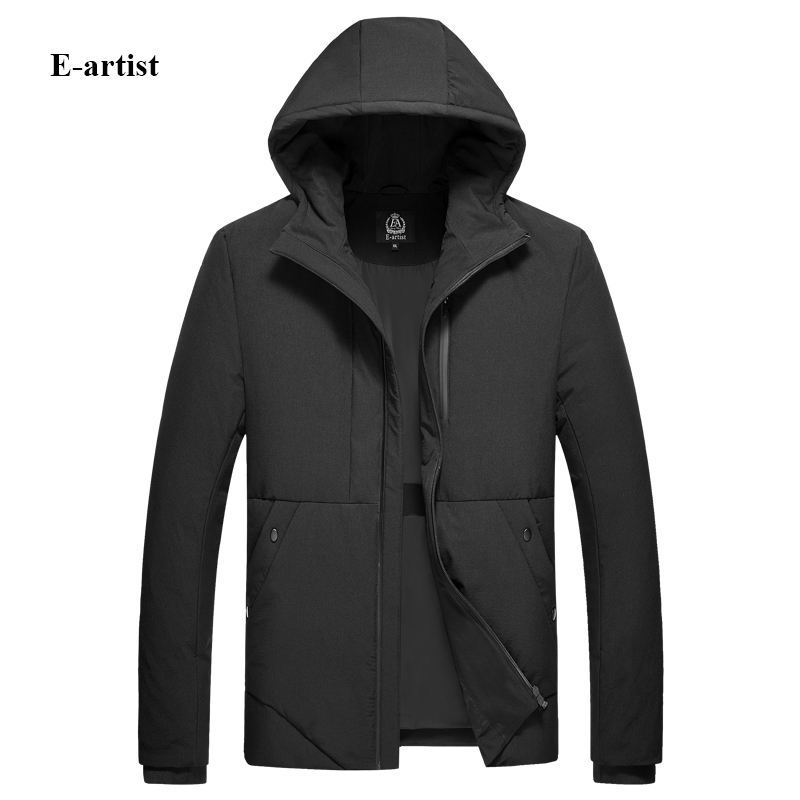 E-artist Mens Slim Fit Casual Hooded Down Coats Jackets Male Thicken Zipper Outwear Overcoats for Winter Plus Size Y54