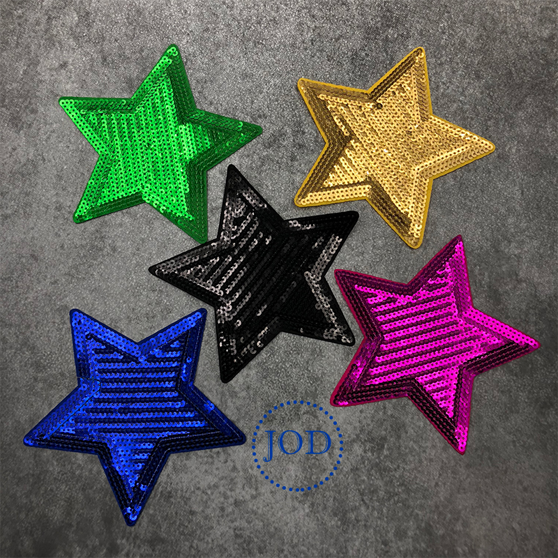 JOD Black Large Sequin Embroidery Star Clothes Patch Applique Iron on Decorative Patches for Clothing Stickers Big Badges Fabric