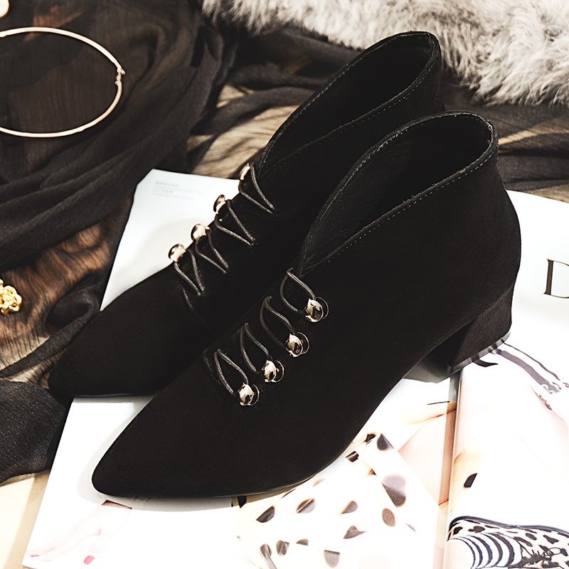 Women's Med Heel Pointed Toe Ankle Boots Brand Design Retro Buttons Heeled Shoes for Women Genuine Suede Leather OL Style Heels