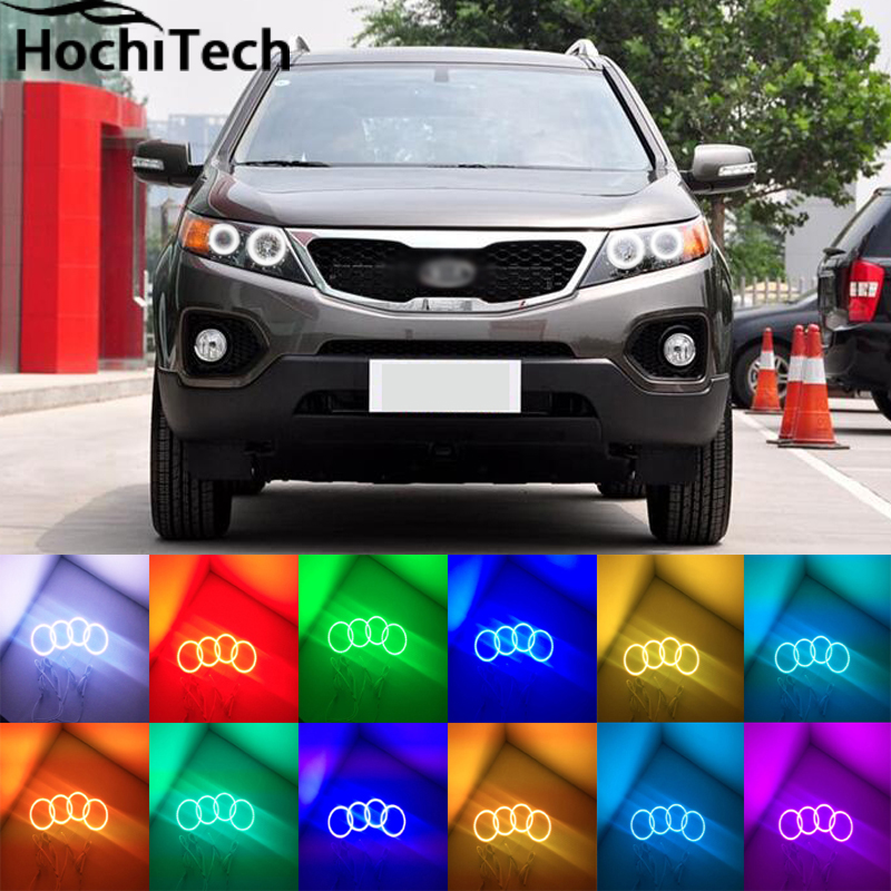 for Kia Sorento R 2009 2010 2011 2012 LED perimeter headlight rings halo Multi-color RGB angel demon eyes 2pcs purple blue red green led demon eyes for bixenon projector lens hella5 q5 2 5inch and 3 0inch headlight angel devil demon