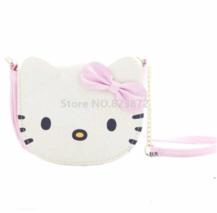 50cf20a8e889 Kawaii Cute Hello Kitty Cat Mini Small Shoulder Messenger Bag Kids PU Crossbody  Bags for Baby