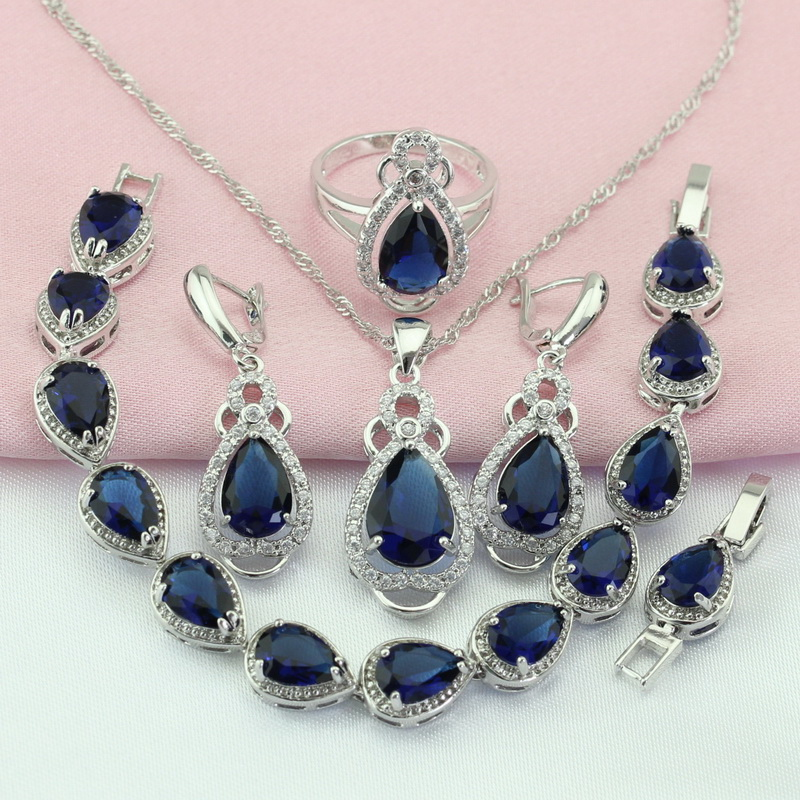 WPAITKYS Navy Blue Cubic Zirconia Silver Color Bridal Jewelry Sets For Women Drop Earrings Bracelet Necklace Ring Free Gift Box tjc tjc 088 zirconia abs ceramic knife navy blue white