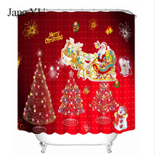 JaneYU Creative Santa digital print waterproof shower curtain