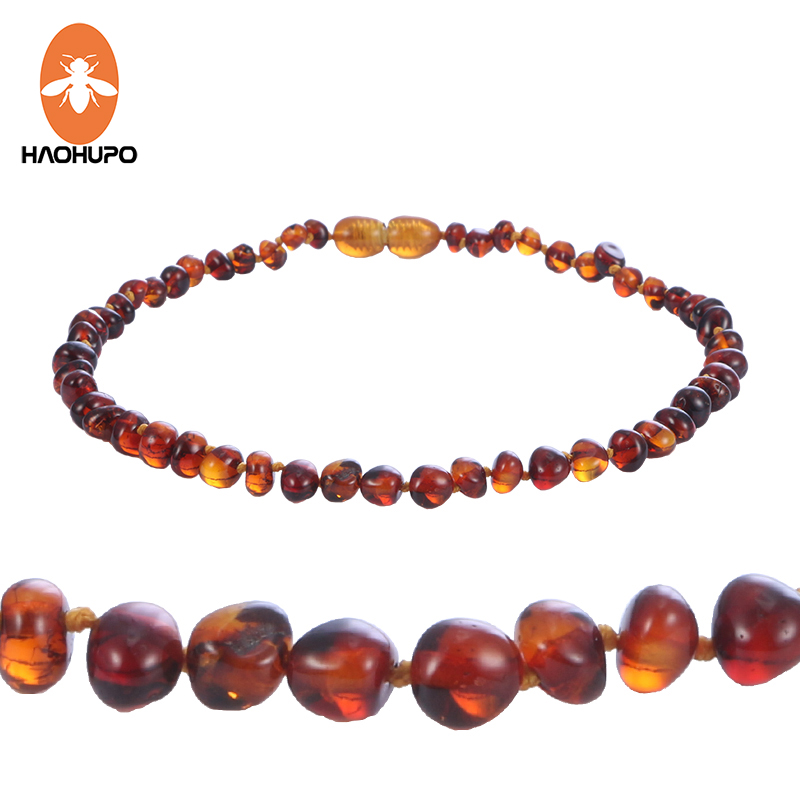 HAOHUPO Cognac Natural Amber Necklace for Baby Adult Baroque Baltic Amber Beads Jewelry Natural Stone Collar Supplier 7 Colors
