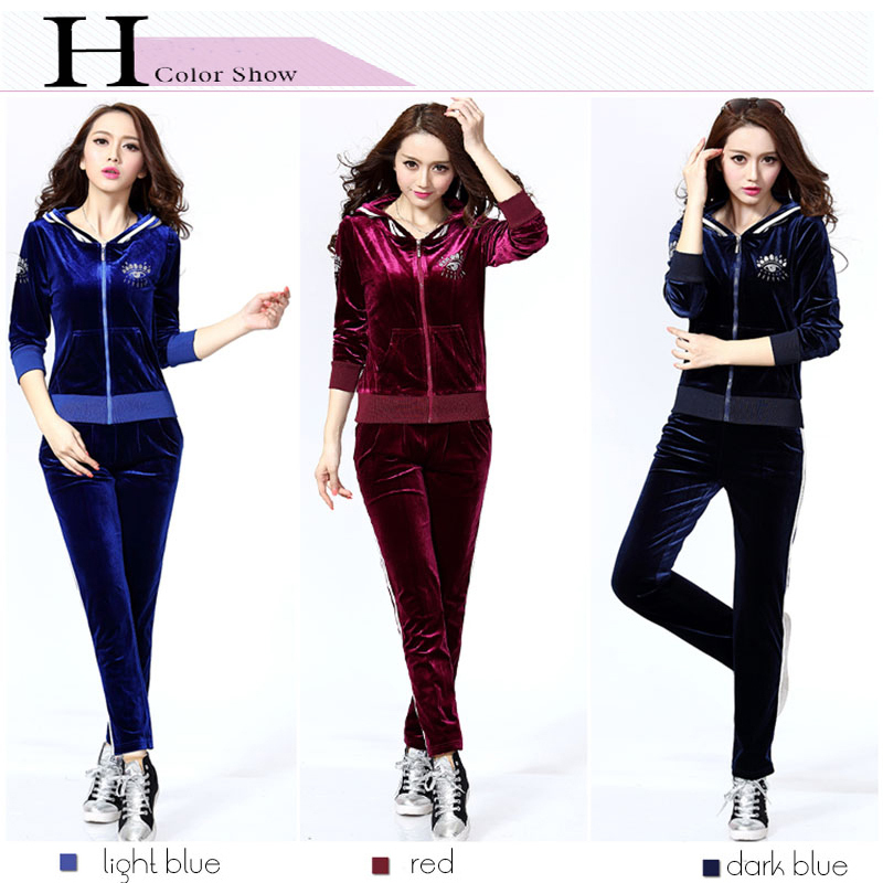 New Brand Casual Velour Tracksuit Set Women Hoodie Sweatsuits Elegant with  Slim Pants for Fall Winter Costume Hot Velvet Fabric-in Hoodies    Sweatshirts ... f69ceb19b