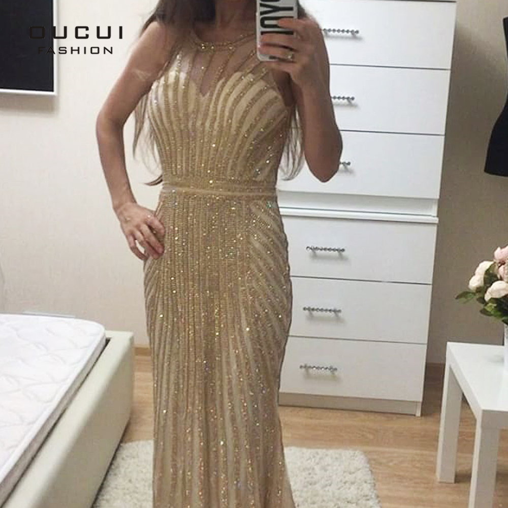Oucui Golden Crystal Evening Dress Tulle Lace Flowers Prom Gowns Luxury Sleeveless Party Sexy Dubai Formal Robe Femme OL102871