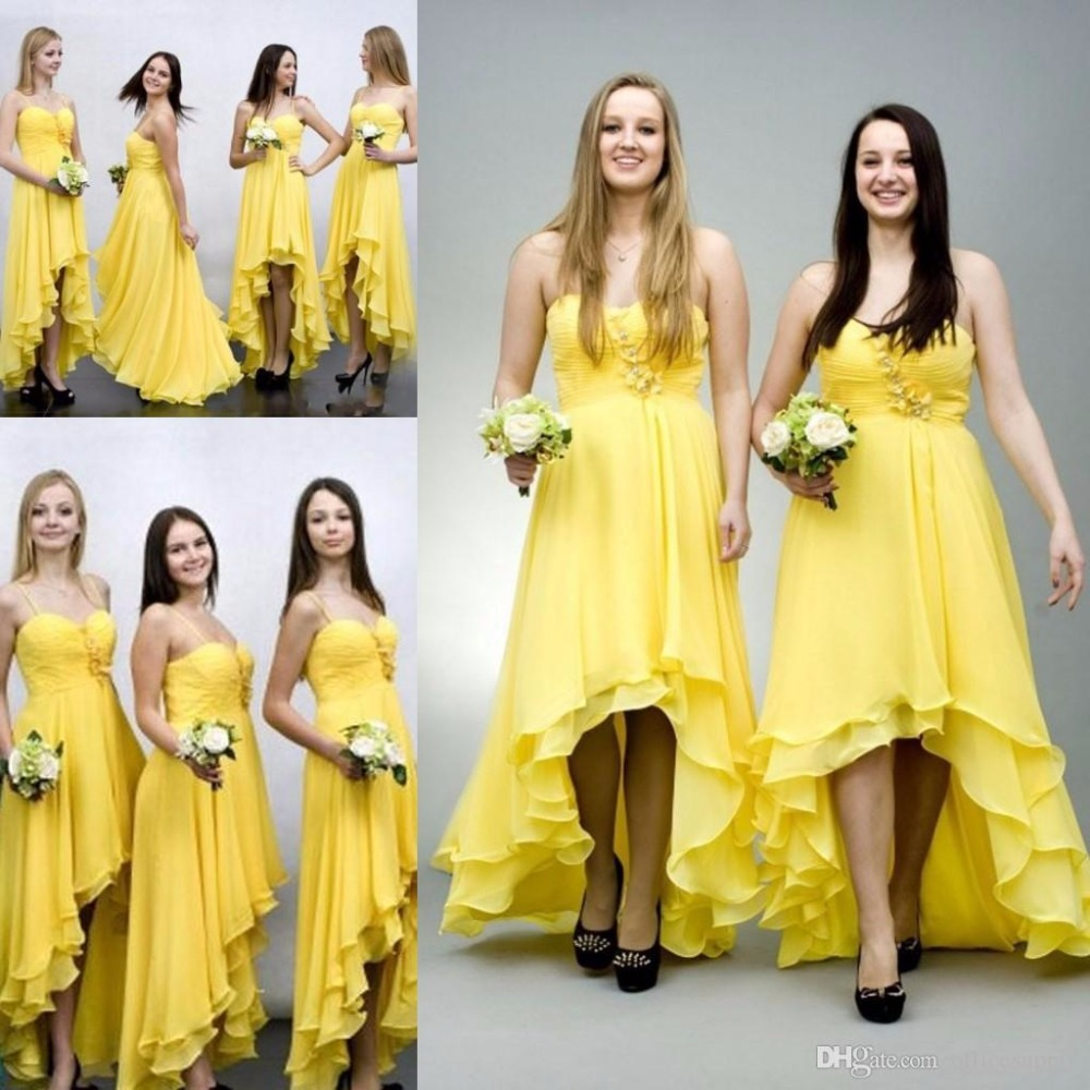 2017 new summer elegant yellow chiffon high low bridesmaid for Yellow dresses for wedding