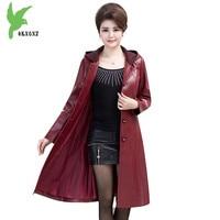 New Women Autumn Winter Leather Jacket Coats Plus Size Middle Aged Female Hooded Washed Leather Jackets