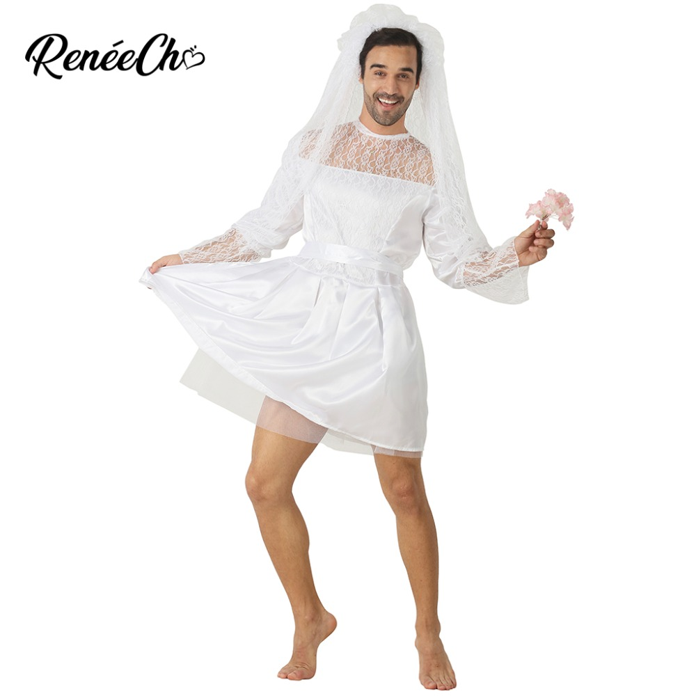 2018 Halloween Costume For Adult Funny Bride Costume For Men Men Costume For Christmas Party Lace Fancy Dress Carnival Cosplay
