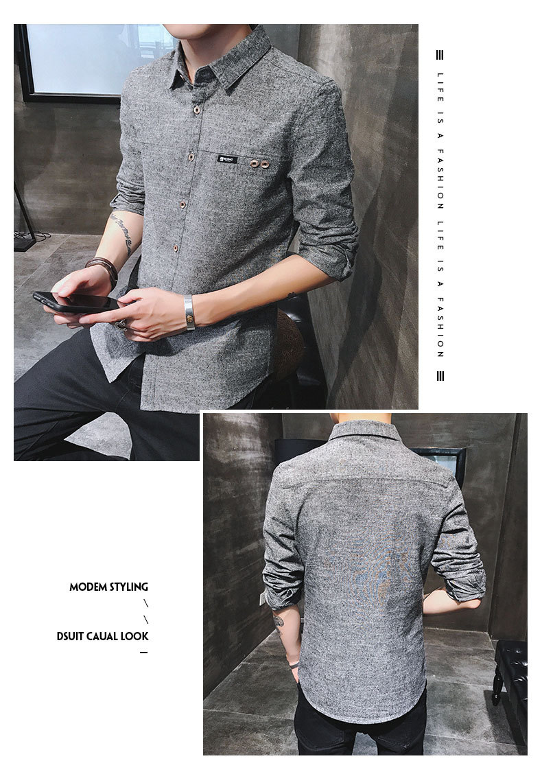 2019 spring new men's shirt Korean version of the self-cultivation youth casual business cotton shirt tide men's boutique shirt 38
