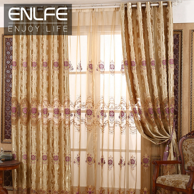 ENLFE Luxury Blackout Window Gold Curtains For Living Room