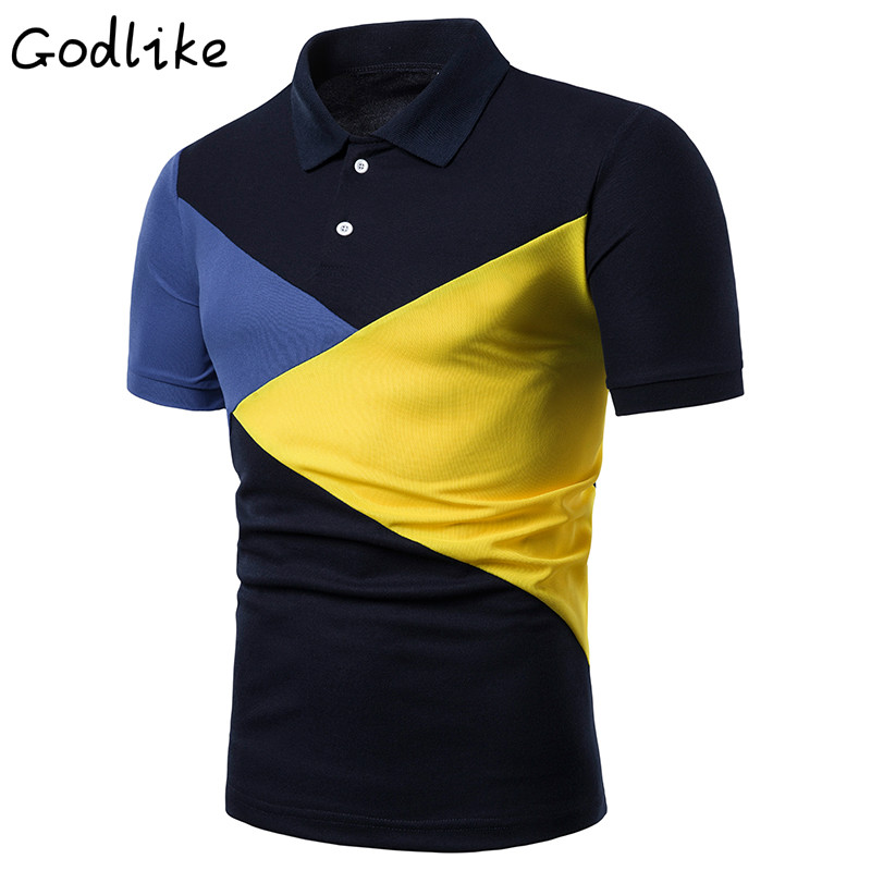 GODLIKE 2019 men's summer fashion new   POLO   casual short sleeve fit fit trend pure cotton patchwork   POLO   shirt