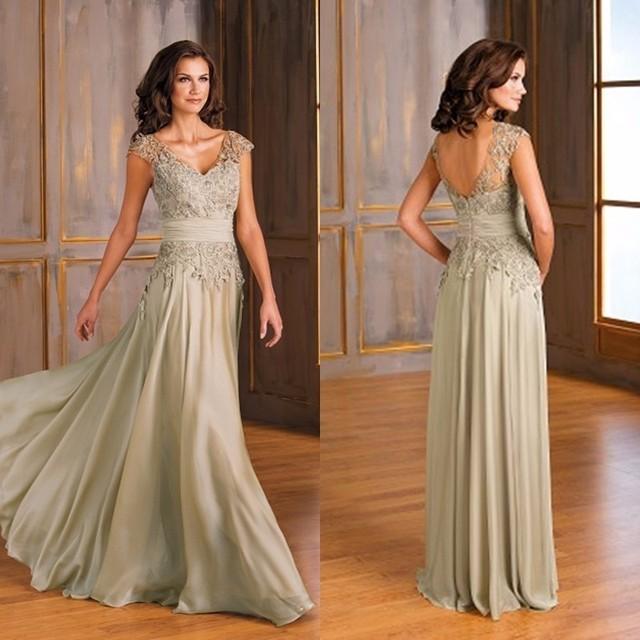 V Cap Neck Sleeve Lace Apliques Requintado dos Vestidos de Noiva Longos Vestidos Mãe Chiffon vestido de madrinha
