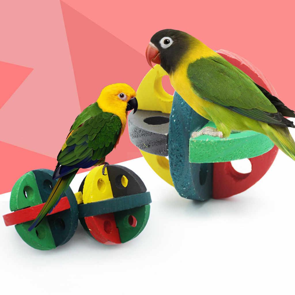 الطيور دغة حبل المولي الخشب الحيوانات الأليفة كرة خشبية لعبة الطيور مسننة حبل الطيور الاليفة لوازم الببغاء اللعب الطيور لوازم