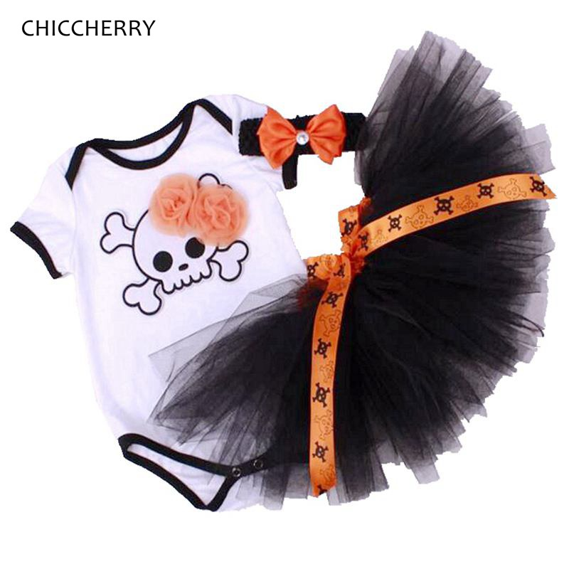 Pirates Halloween Costume For Kids Skull Bodysuits Lace Tutu Skirt Headband Newborn Baby Girl Clothes Sets Halloween Outfits baby watch наручные zip pirates 600533