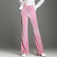 Nonis New Arrival Women High Waist Autumn Full length velvet Flare pants loose casual straight wide leg velour pants