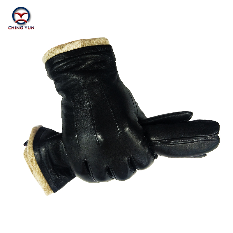 CHING YUN Winter man Sheep skin leather gloves male warm soft Comfortable men's Operating mobile phone men Three lines glove