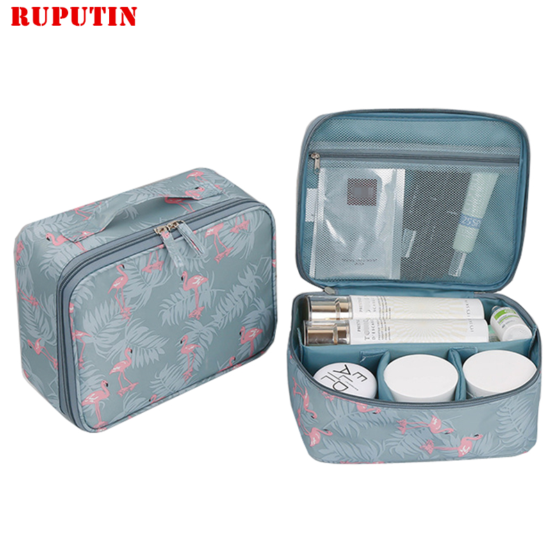 RUPUTIN 2018 New Women's Make Up Bag Travel Cosmetic Organizer Bag Cases Printed Multifunction Portable Toiletry Kits Makeup Bag