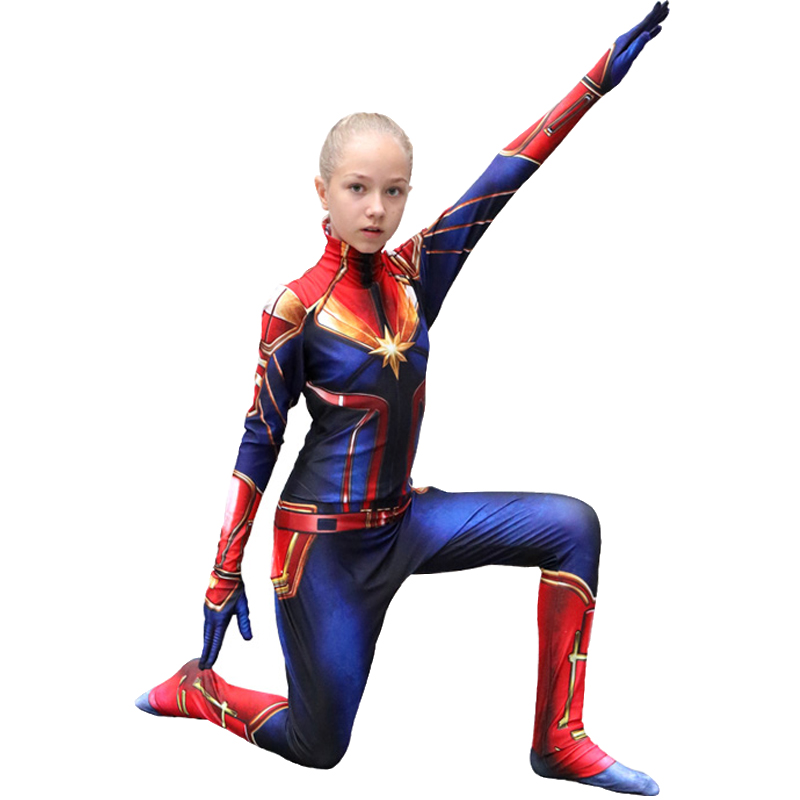 Girls captain marvel Costume Children's Superhero Ms Marvel Carol Danvers Cosplay Bodysuit Jumpsuit Halloween Kids