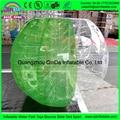 Buena calidad de luz verde bola burbuja inflable para los niños juegan juegos de fútbol