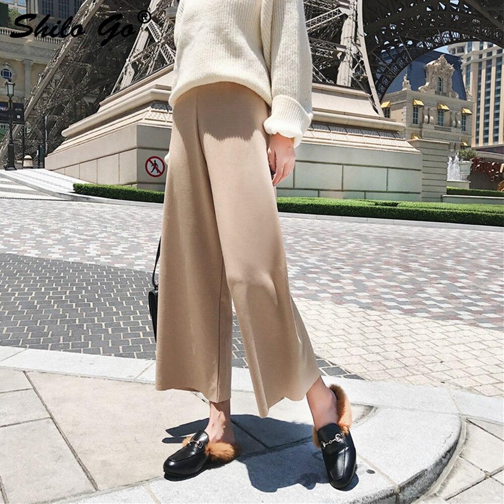 Causal Negro De Pierna Mujer Capris Beige Alta Chic Pantalones Negro Ancha Invierno Otoño Streetwear caqui Cintura wnOgf