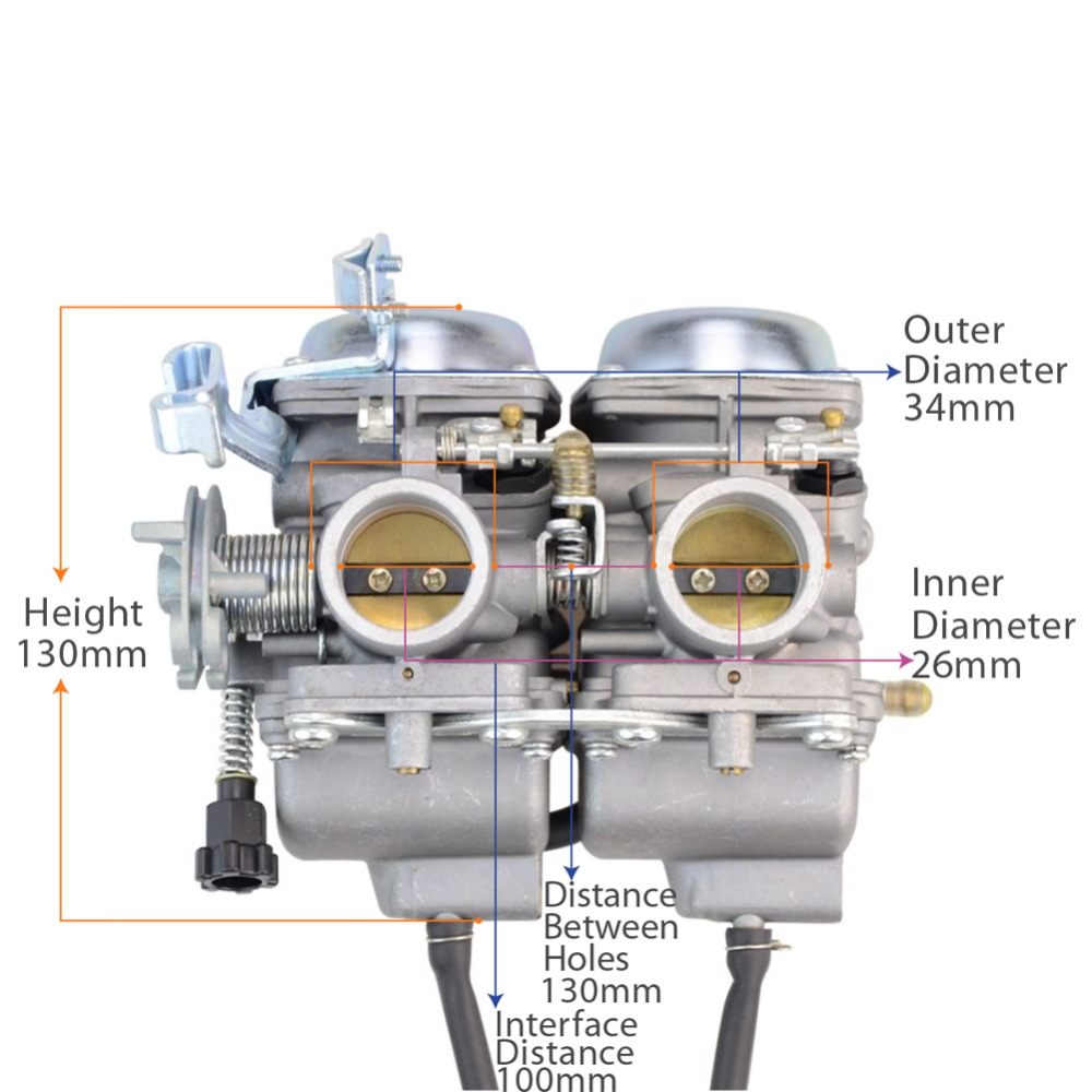 GOOFIT Twin Carburetor Carburetor Double Cylinder for Honda Chamber - لوازم جانبی و قطعات موتور سیکلت