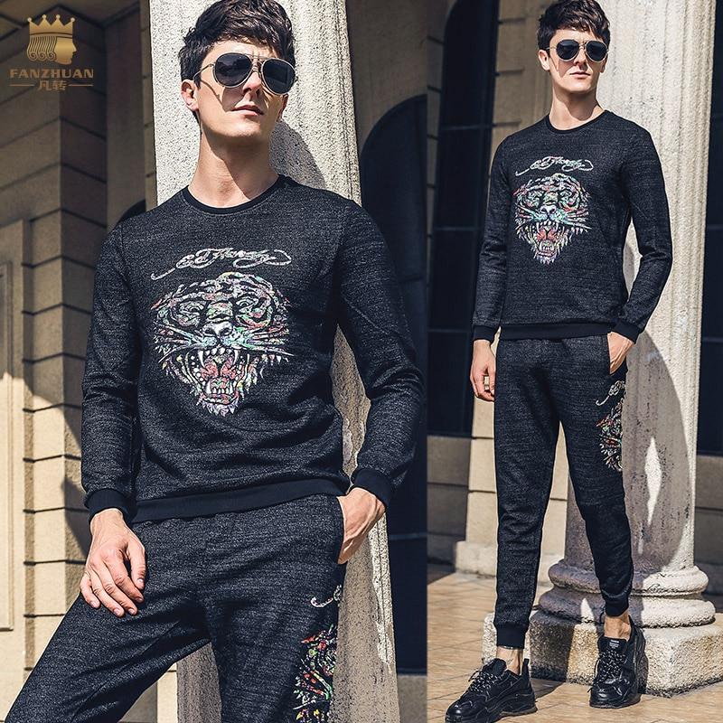 Fanzhuan Free Shipping casual New 2018 male Men s man long sleeved t shirt pants 2