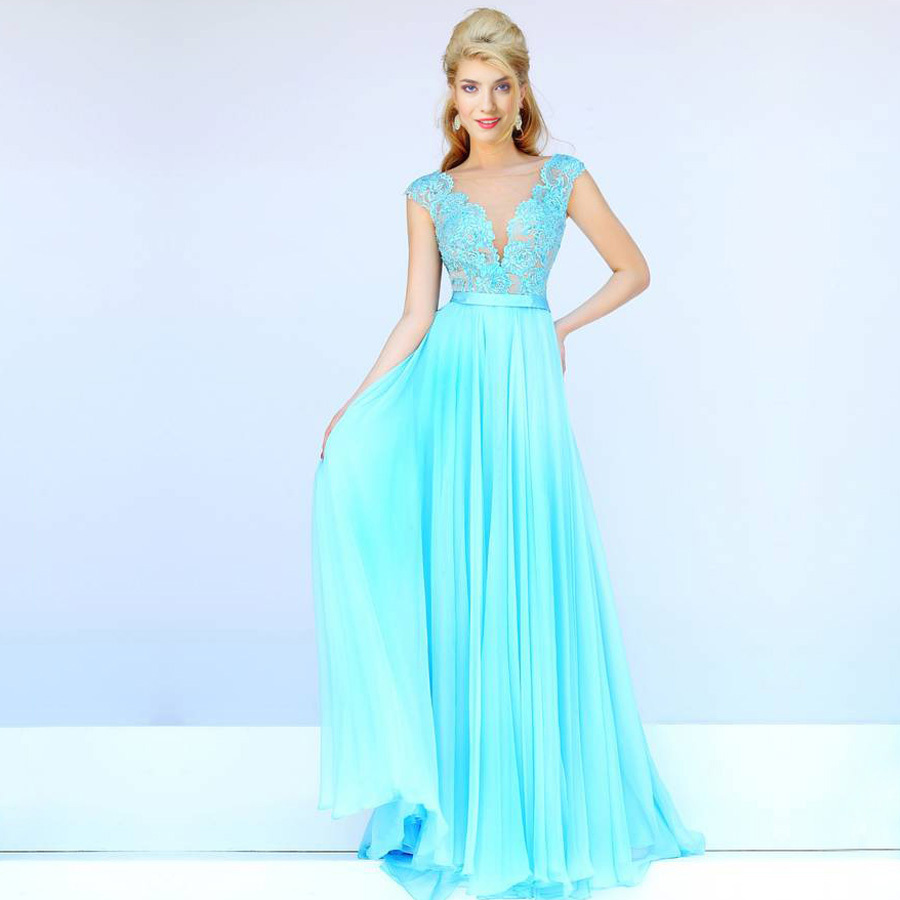 New Arrivals V-neck See Through Front Turquoise Embellished Sequin Lace Long Prom vestido de festa 2018   bridesmaid     dresses
