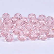 4 6 8mm Pink Rondelle Austria faceted Crystal Glass Beads Loose Spacer Round DIY Jewelry Making For Bracelet