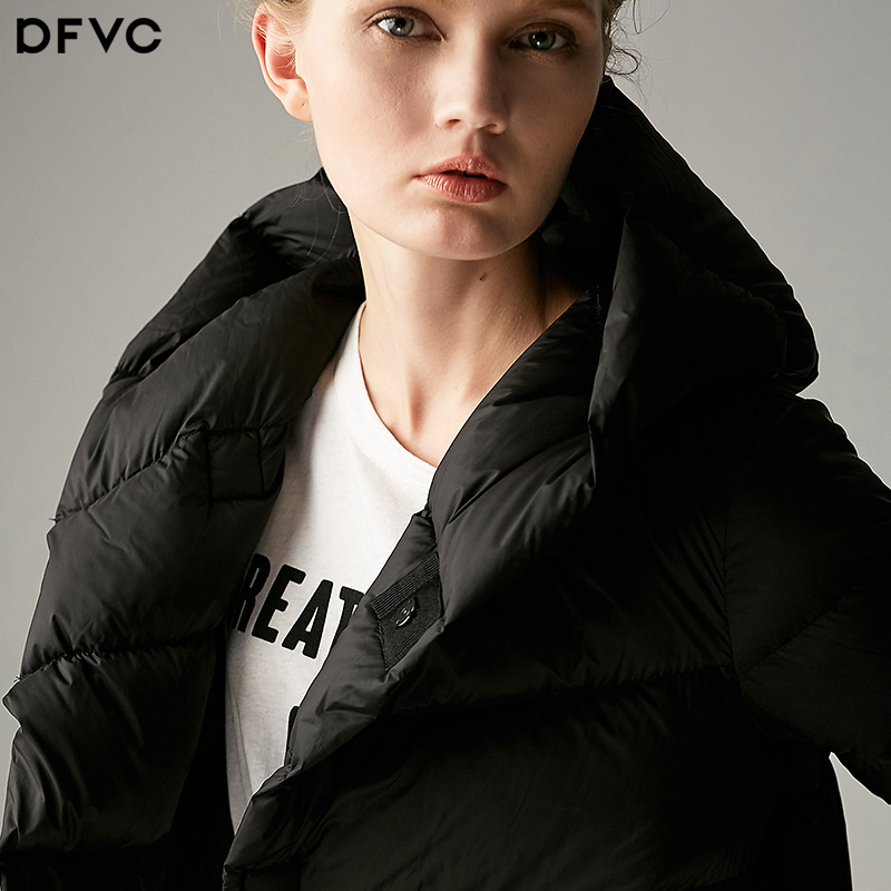 Dfvc2017 winter new loose cocoon thin long white   down     coat