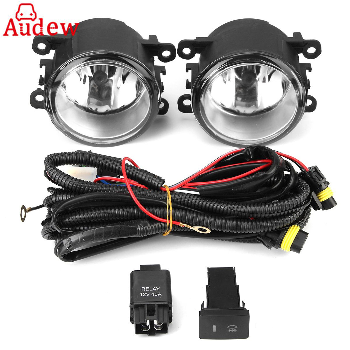 pair front fog light clear lens with wiring kit for. Black Bedroom Furniture Sets. Home Design Ideas