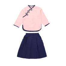 DFXD Children Clothing Sets 2018 Spring Summer Retro Tang Suit New Teens Girl 2pcs Outfits Top+Skirt Kids Girl School Sets 3-12Y children s garment girl summer wear children suit new pattern child nail bead skirt 2 pieces kids clothing sets