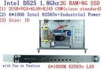 1U стойки брандмауэр маршрутизатор сетевой сервер 6 82583 В D525 1,8 г Поддержка ROS Mikrotik PFSense F4 2 г Оперативная память 8 г SSD