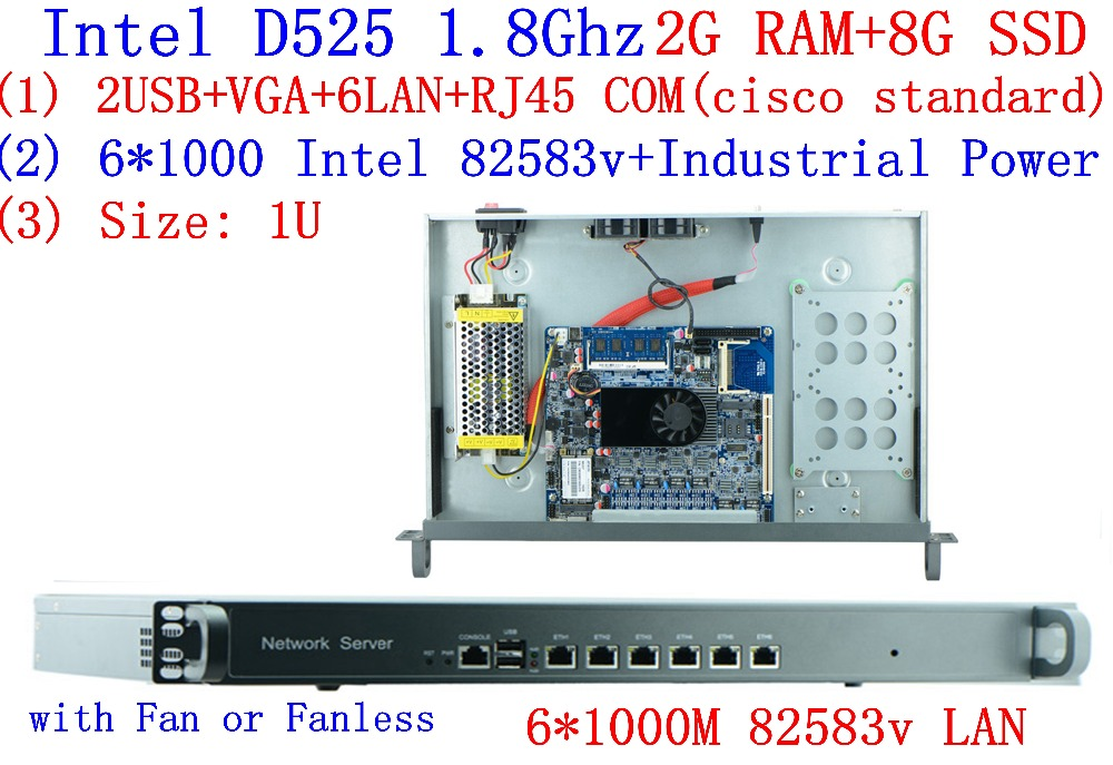 1U Rack Firewall Router Network Server 6 82583v D525 1.8G Support ROS Mikrotik PFSense F4 2G RAM 8G SSD