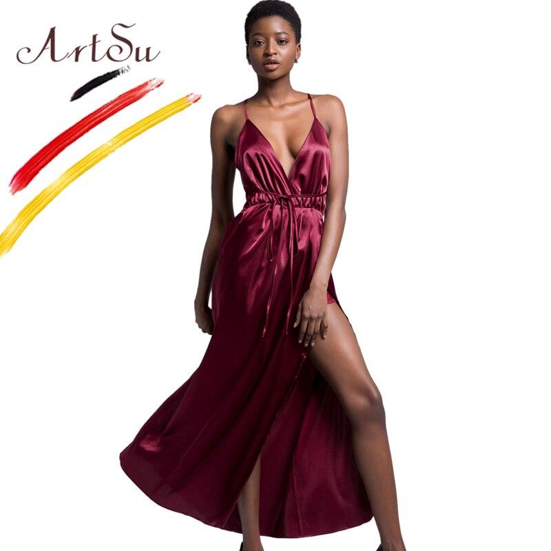 ArtSu Sexy Clubwear Burgundy Satin Party Dress Fashion Wrap Bandage Maxi Dress Women Summer V-Neck High Split Backless Long Robe